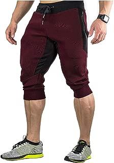 EVERWORTH Men's 3/4 Gym Workout Pants Jogger Capri Pants Slim Fit Training Shorts with Zipper Pocket