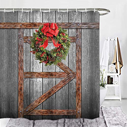 ORTIGIA Christmas Shower Curtain Set, Rustic Vintage Wooden Barn Door of Farmhouse Bath Curtains,Waterproof Polyester Shower Curtain Fabric-60 W x 72' Lwith Hooks