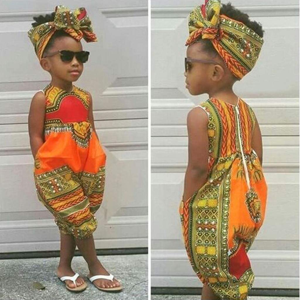 WOCACHI Toddler Baby Girls Overall African Boho Outfits Sleeveless Harem Romper Jumpsuit Bodysuit with Headband