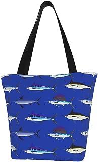 Lesif Einkaufstaschen, Billfish auf dunkelblauem Meer, Segeltuch, Schultertasche, wiederverwendbar, faltbar, Reisetasche, groß und langlebig, robuste Einkaufstaschen
