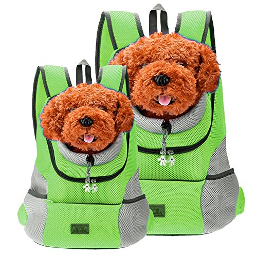 CozyCabin Latest Style Comfortable Dog Cat Pet Carrier Backpack Travel Carrier Bag Front for Small Dogs Puppy Carrier Bike Hiking Outdoor (M, Green)