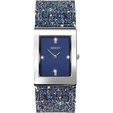 Seksy Rocks Womens Blue Dial Blue Stone Set Bracelet Watch 2758