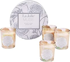 LA JOLIE MUSE Scented Candles Gift Set - 4 Soy Candles Essential Oils Aromatherapy Candles Stress Relief, Small Votive Glass Decorative Candles, Christmas Candles Gift Sets