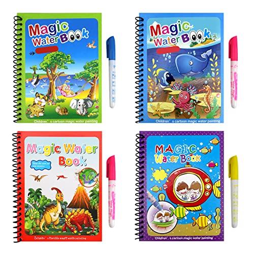 4 pezzi Libro di pittura ad acqua per bambini, libri di pittura magica Attività di viaggio Giocattolo per bambini Libro da disegno per bambini Libro da disegno per bambini Ragazzi Ragazze presenti