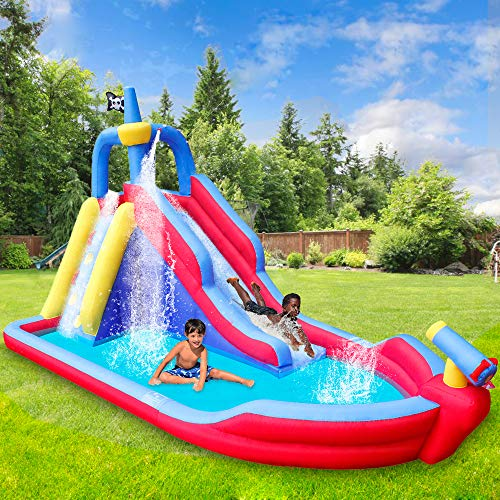 RETRO JUMP Inflatable Pirate Boat Water Slide for Summer Party Climbing Wall Water Park for Kids Birthday Gift Include Blower Patch Kits Stakes Water Tube Carry Bag