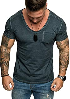 Plain Tees for Men, Workout Muscle Side Pocket Slim Fit T-Shirts Summer Sport Stylish Short Sleeve V-Neck Tops by Leegor
