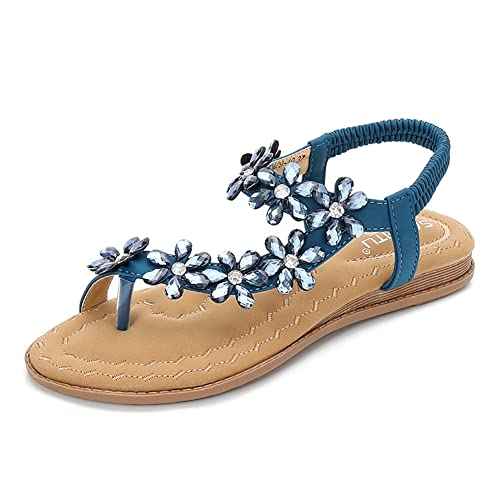 5a35d06086fb Meehine Women s Elastic Sparkle Flip Flops Summer Beach Thong Flat Sandals  Shoes