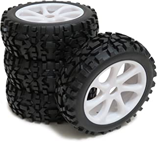 4pcs 1/8 RC Off-Road Buggy Badland Tires All Terrain Tyres & Hex 17mm Wheels for RC 1:8 Buggy Car