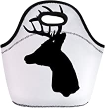 Semtomn Neoprene Lunch Tote Bag Buck Whitetail Deer Head Silhouette Woods Antler Archery Arrow Reusable Cooler Bags Insulated Thermal Picnic Handbag for Travel,School,Outdoors,Work