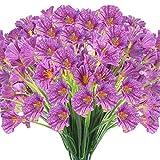 JEMONG 24 Bundles Artificial Flowers Outdoor UV Resistant Fake Flowers No Fade Faux Plastic Plants Garden Porch Window Box Decorating(Purple)