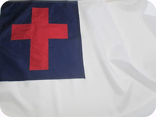 Christian Flag 5x8 Ft Beautiful Outdoor Christian Flag Fully Sewn Using Durable All Weather Fade Resistant Premium SOLARMAX Nylon With Appliqued Christian Cross 100 Made In USA