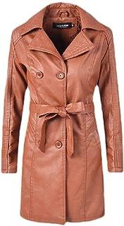 neveraway Women Plain Double Breasted Pu Leather Belted Windbreaker Jacket