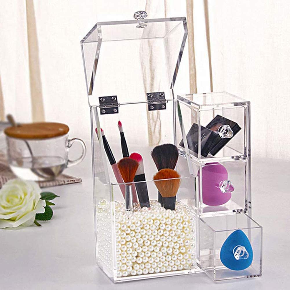 Oumefar Transparent Acrylic Cotton Swab for Th Cheap Free shipping super special price Storing Container