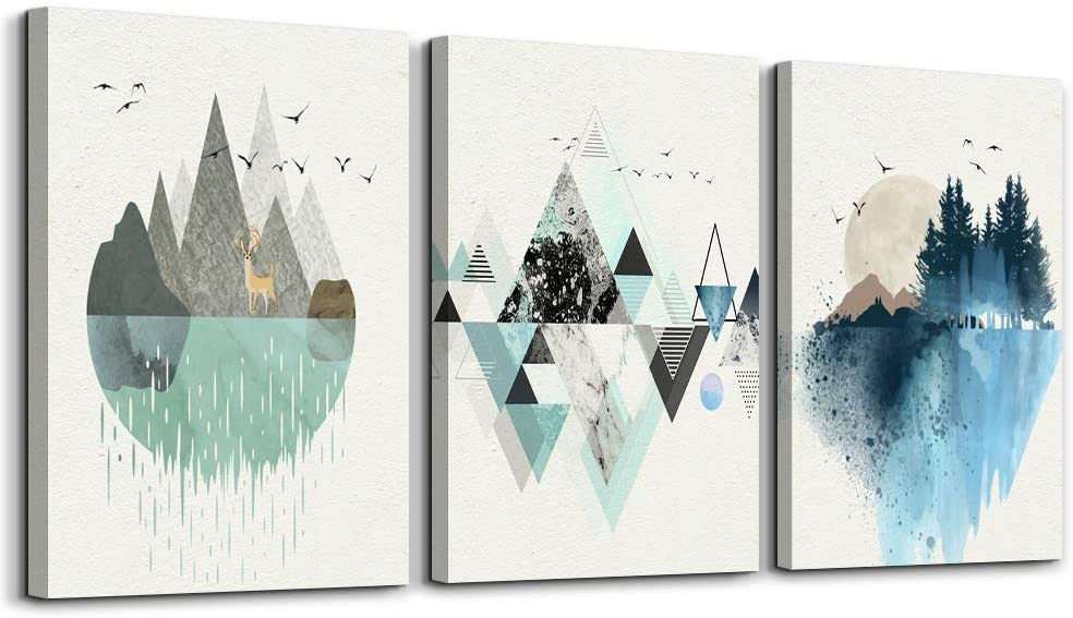 Abstract Mountain in Daytime Canvas Prints Wall Art Paintings Abstract Geometry Wall Artworks Pictures for Living Room Bedroom Decoration, 12x16 inch/piece, 3 Panels Home bathroom Wall decor posters