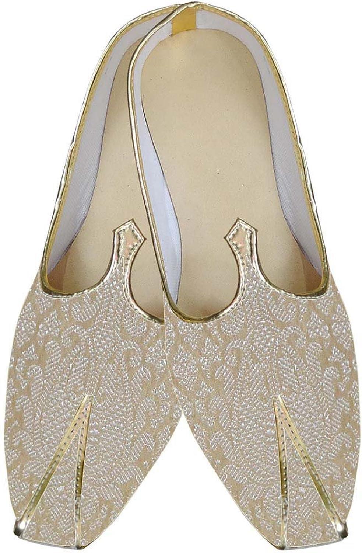 INMONARCH Mens Beige Brocade Indian Wedding shoes MJ0159