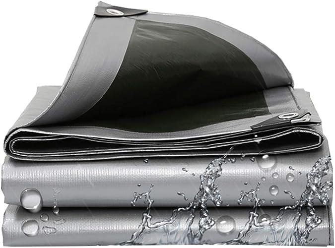 Imperméable épaissir Bache Résistant aux UV Coupe-Vent Anti-age  Toile de Prougeection pour auvents   Bache de Tente pour la randonnée, la pêche, Camping, hamac, Piscine, Camion, Bateau - Argent