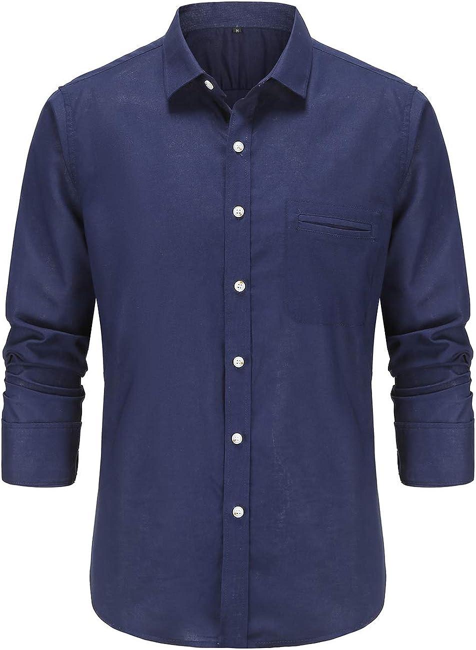 Dioufond Linen Shirts for Men Long Sleeve Camisas de Hombre Lino