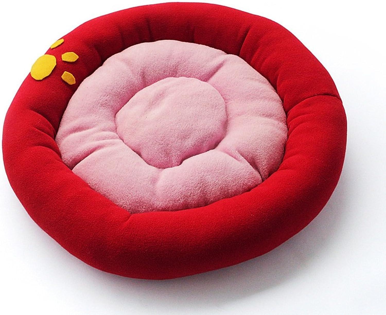 Limiz Pet Nest,kennel Coral Velvet New Pet Dog Sofa Pet Nest Autumn Winter Warm Waterloo Dog Bed Cat Bed Mat 4 Size (color   Red, Size   XL)