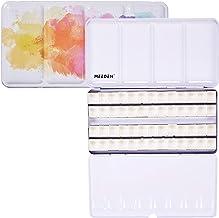 MEEDEN Empty Watercolour Tins Box Palette Paint Case, Large Pink Tin with 48 Pcs Half Pans