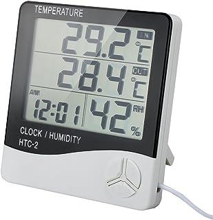 VADIV Thermomètre Intérieur Extérieur, Sonde Hygromètre Horloge Digital Ércran LCD Affichage avec Température Humidité Dat...