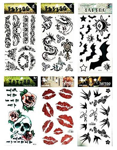 NipitShop Tattoos 6 Pcs Skull Rose Flower Sunflower Yin Yang Dragon Shark Turtle Bird Fly Lipstick Temporary Tattoos Sticker for Women Men Body Art Adults Waterproof Hand Fake Tatoo