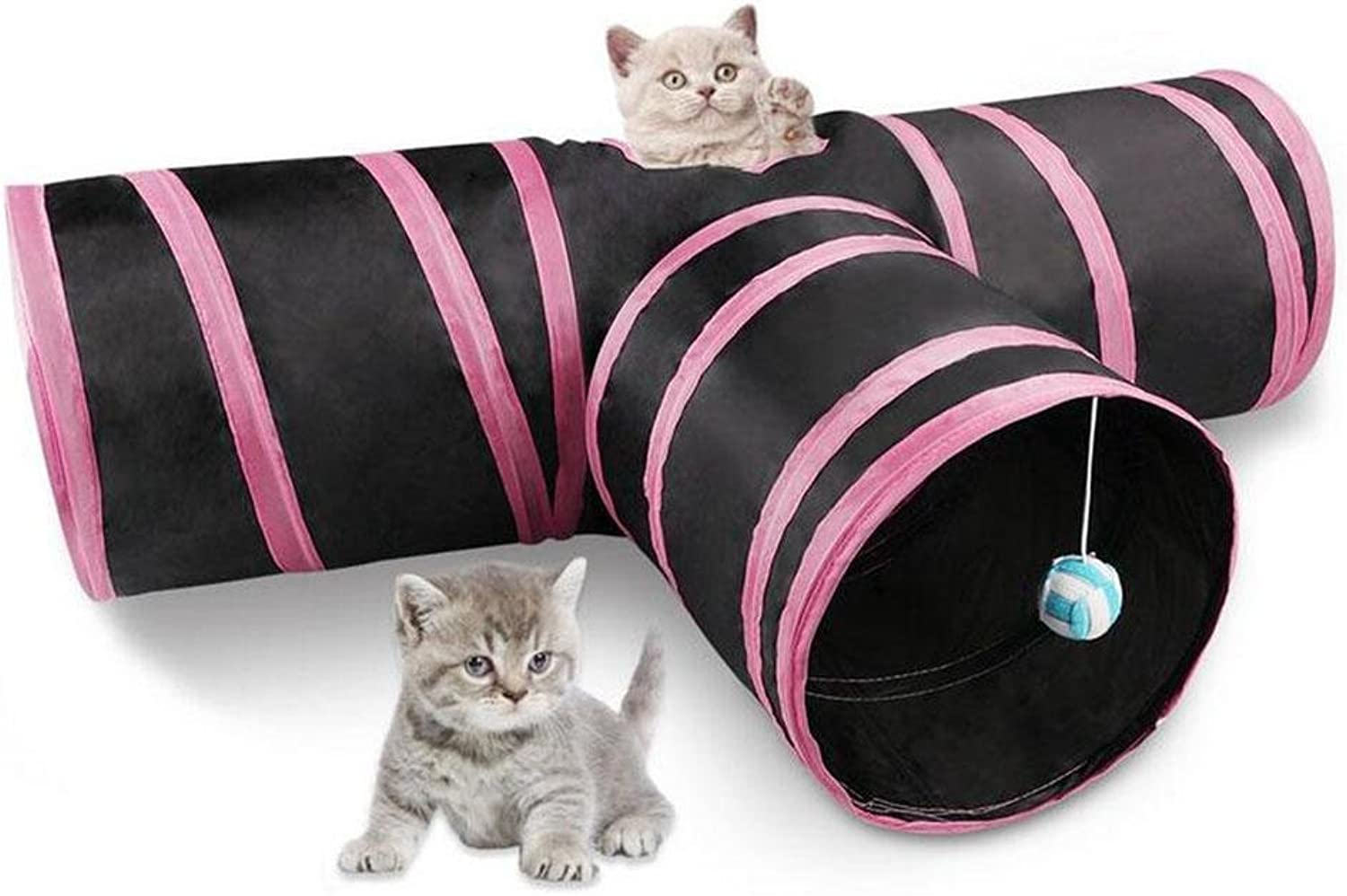 Cat Tunnel Toy,3 Way Collapsible Pet Cat Play Tunnel with Ringing Ball,Spacious Tube Fun for Cat Puppy Kitten Pink and bluee, Powder