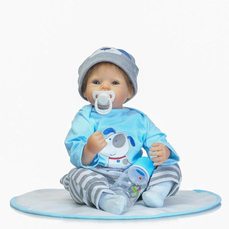 JHGFRT Realistisch Aussehende Reborn Babypuppe Junge Silikon Blau Outfit 50 cm