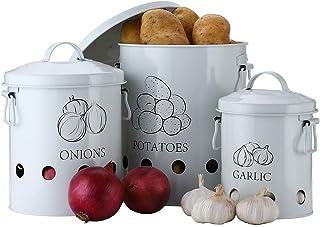G.a HOMEFAVOR Olla Patatas Cubo de Lata para Almacenamiento de Patatas Cesta de Metal para Frutas Verduras y Cebolla E...
