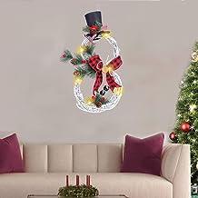 Adounav 2020 Artificial Christmas Wreaths with Lights,Christmas Supplies Home Decoration Garland Pendant LED Lights Garlan...
