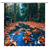 Jingjiji Autumn Forest Shower Curtain Red Maple Leaf Tropical Jungle Country Natural Lush Trees Flowing Creek Romantic Exotic Bathroom Decoration Polyester Fabric with Hook 70 x 70 Inch Red Blue