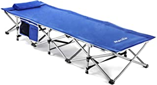 Alpcour Folding Camping Cot – Extra Strong Single Person Small-Collapsing Bed in a Bag w/Pillow for Indoor & Outdoor Use – Deluxe Comfortable Extra Heavy Duty Design Holds Adults & Kids Up to 440 Lbs