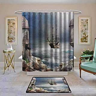 Custom Shower Curtain Sailboat,A Pirate Merchant Ship Anchored in the Bay of Fort Abandoned Rocks at Shore, Pale Muave Beige,Print Polyester Fabric Bathroom Decor Sets with Hooks 62