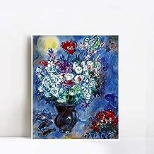 INVIN ART Framed Canvas Giclee Print Art Flower 6 by Marc Chagall Wall Art(White Slim Frame,20