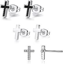 REVEMCN 925 Sterling Silver and Stainless Steel Cross Stud Earrings for Women Men, 3 Pairs
