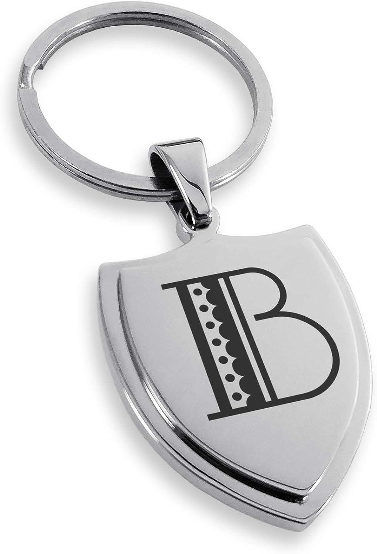 Tioneer Stainless Steel Letter B Initial Metro Retro Monogram Shield Keychain Keyring
