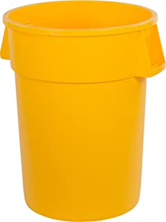 Carlisle 34104404 Bronco Round Waste Container Only, 44 Gallon, Yellow (Pack of 3)