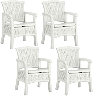 Suncast Elements Durable Outdoor Patio Dining Chair with Storage, White (4 Pack)