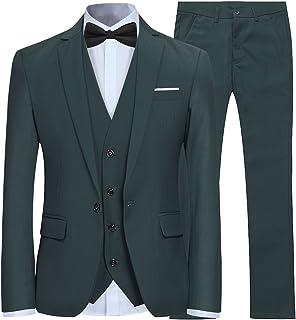 70a80b1847b Men s Slim Fit 3 Piece Suit One Button Blazer Tux Vest   Trousers