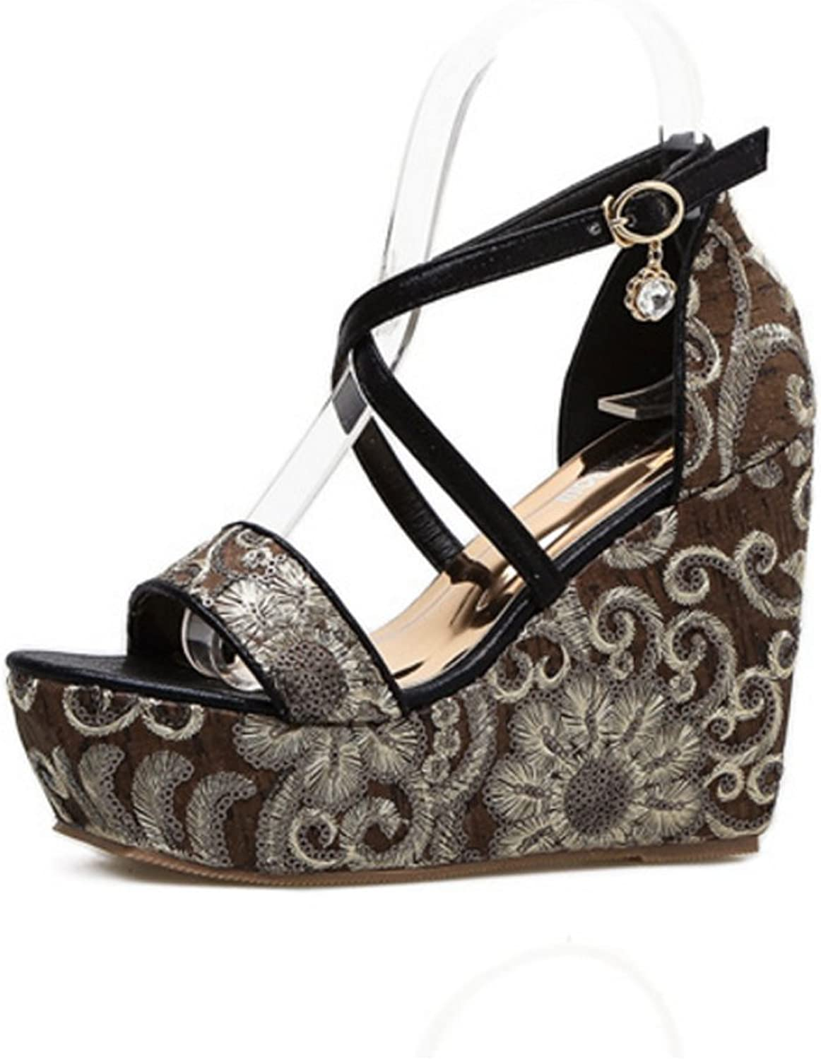 Niceful Women Open Toe Paltform Wedge Sandals Summer Crisscross Ankle Strappy Embroidered High-Heeled Sandals
