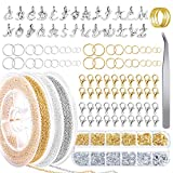 Whaline 1070Pcs Jewelry Making Chains Kit 66 Feet Stainless Steel Link Cable Chain with 26 Letter Pendant 1000Pcs Split Rings 40Pcs Lobster Clasps with Curved Tweezers Jump Ring Opener for Craft DIY