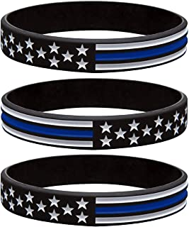 Sainstone Thin Blue Line American Flag Police Bracelet - Blue Lives Matter Silicone Rubber Wristband Band Set - Support Law Enforcement for Policeman's Prayer Gifts for Police Officers Cops