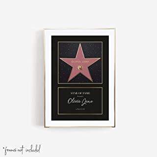 Personalized Hollywood Walk of Fame Star Black Border Extra Print, Unframed