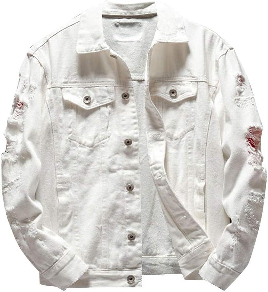 MODOQO Jacket for Men Lightweight Outdoor Turn-Down Collar Denim Coat
