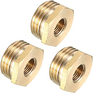 uxcell Brass Threaded Pipe Fitting 1/2 PT Male x 1/8 PT Female Hex Bushing Adapter 3pcs