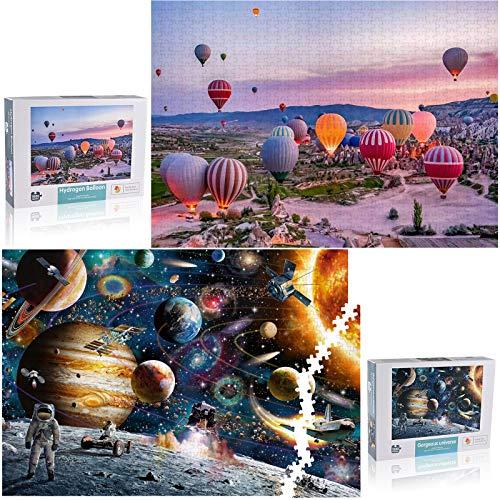 Puzle de 1000 piezas + 1000 piezas GOLDGE Universo Puzzle Adultos Niños Adultos Familia Juego de habilidad Espaciadores Globo Romántico 75 x 50 cm (Estilos)