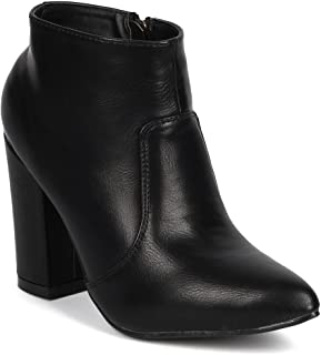 Women Leatherette Pointy Toe Chunky Heel Zip Riding Bootie DJ76 - Black Leatherette