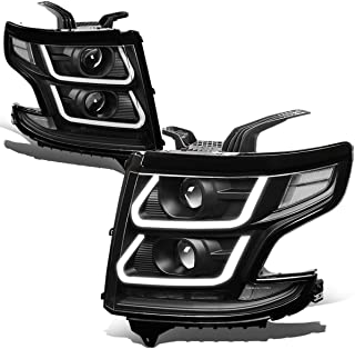 Pair Black Houisng Clear Corner 3D LED DRL + Dual Projector Headlight/Lamps for Chevy Suburban/Tahoe 15-20