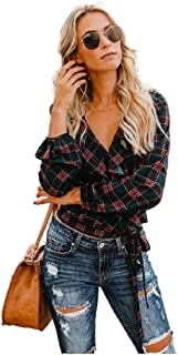 Howely Women Plaid Flounced Stylish Tunic Tie Knot Top T-Shirt Blouse