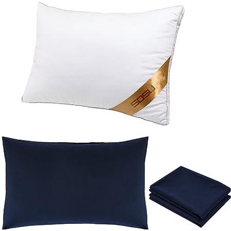SOSU 枕 カバー2枚付き(水洗い綿素材) まくら 高反発枕 横向き対応 丸洗い可能 立体構造43x63cm (ネイビー)