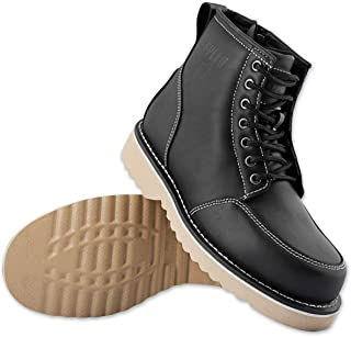 Mens Motorcycle Leather Boots | Speed and Strength Overhaul: Classic Engineer Ironworker Casual Work Riding Shoes | Anti-slip, Side Zipper and Lace Footwear | Cruiser, Indian and Harley Bike Style